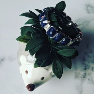 Lia Sophia Navy Stretch Elastic Bracelet